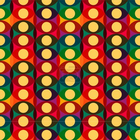 Seamless red yellow retro circle pattern background