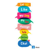Most common used acronyms and abbreviations on multicolored speech bubbles