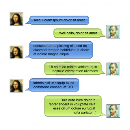 Photo for Mobile chat: message boxes for your text - Royalty Free Image