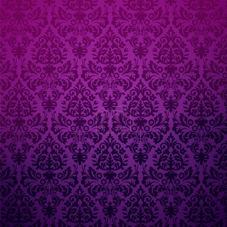 Illustration for Damask seamless pattern in purple and gray in editable vector file - Royalty Free Image