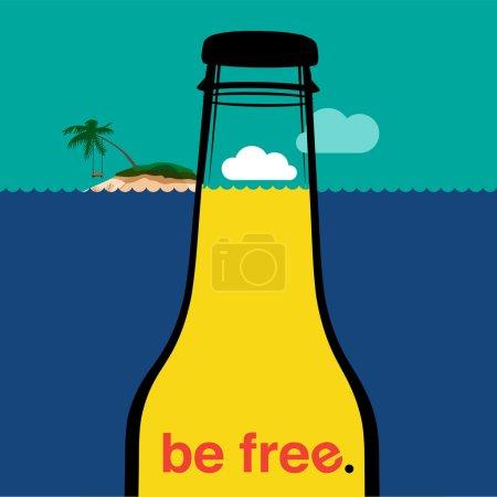 Illustration for Summer bottle in the sea, vector Eps10 illustration. - Royalty Free Image
