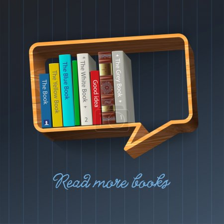 Photo for Bookshelf in the form of speech bubble, vector Eps10 illustration. - Royalty Free Image