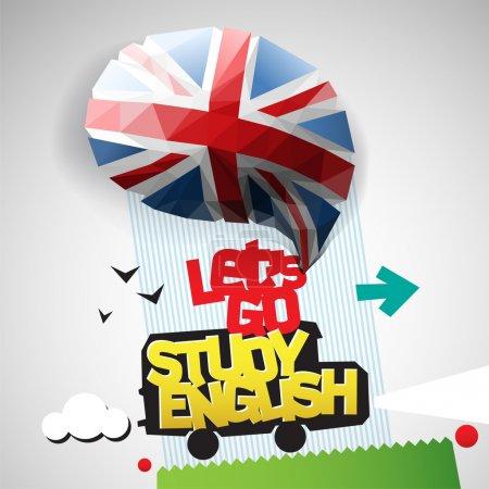 Photo pour Let ' s go étude fond anglais. illustration de vecteur eps10 - image libre de droit