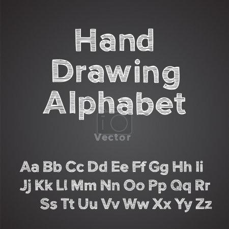 Illustration pour Alphabet dessin à la main avec effet craie, vecteur Illustration Eps10 . - image libre de droit