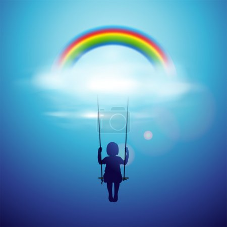 Illustration for Little girl on a swing under the rainbow in a clouds, vector Eps 10 illustration. - Royalty Free Image