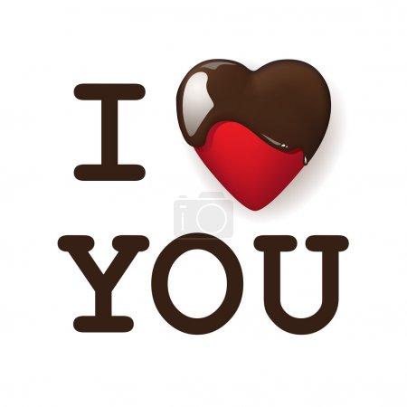 Illustration pour Je t'aime, écrit avec du chocolat. Illustration vectorielle - image libre de droit