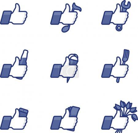 Illustration pour Comme Thumbs Up icônes symbole avec des activités quotidiennes, vecteur Eps10 illustration . - image libre de droit