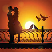 Silhouette of couple in love kissing at sunset Vector illustration
