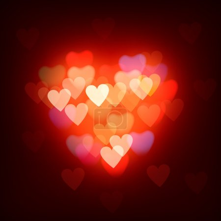 Illustration for Blurred background with hearts, vector Eps10 image. - Royalty Free Image
