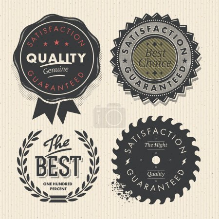 Illustration for Set premium quality and guarantee labels, vector Eps10 image. - Royalty Free Image