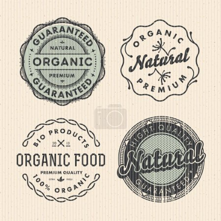 Illustration for Set vintage organic labels, vector Eps10 illustration. - Royalty Free Image