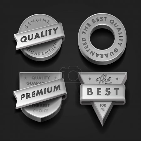 Set premium quality and guarantee labels three-dimensional