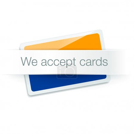 We accept cards - credit card isolated on white