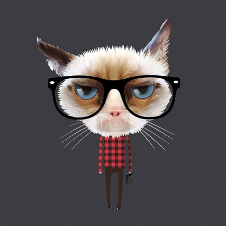 Illustration for Funny cartoon cat, vector Eps10 illustration. - Royalty Free Image