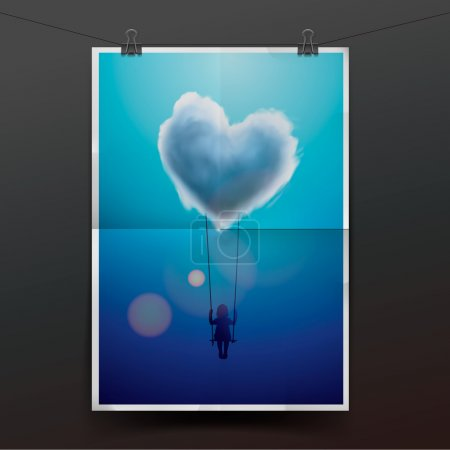 Illustration for Child on swing under heart shape cloud, vector Eps10 image. - Royalty Free Image