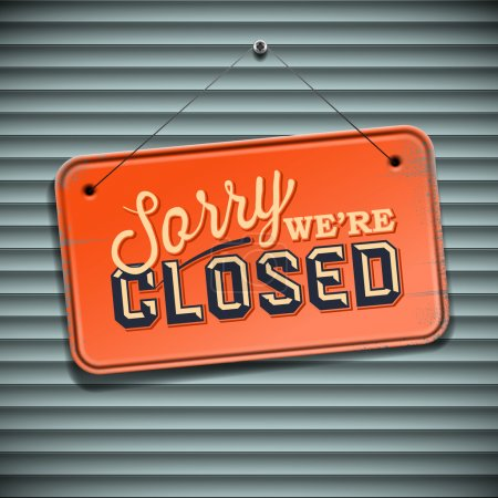 Illustration for We are Closed Sign - vintage sign, vector Eps10 illustration. - Royalty Free Image