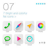 Colorful Flat icons set for Web and Mobile Application