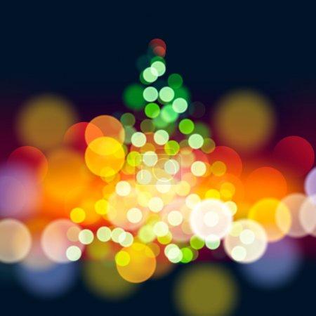 Illustration for Christmas tree lights background, vector Eps10 illustration. - Royalty Free Image