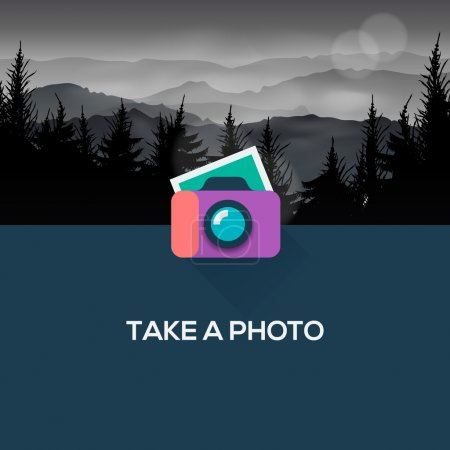 Photo for Photo camera web icon flat design, vector Eps10 image. - Royalty Free Image