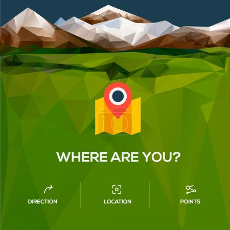 Flat design location icon with pin pointer