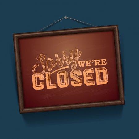 Illustration pour Nous sommes fermés signe - signe vintage, vecteur Eps10 illustration . - image libre de droit