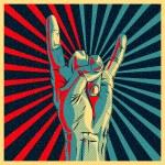 Hand in rock n roll sign, vector Eps10 illustratio...