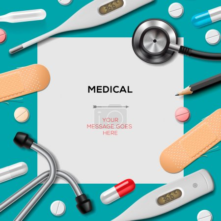 Illustration for Medical template with medicine equipment, vector Eps10. - Royalty Free Image
