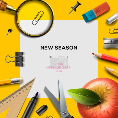 Illustration pour Nouveau modèle d'invitation de saison scolaire avec fournitures de bureau, fond de retour à l'école, illustration vectorielle Eps10 . - image libre de droit