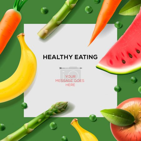 Photo for Healthy eating template with fruits, vegetables, vector Eps10. - Royalty Free Image