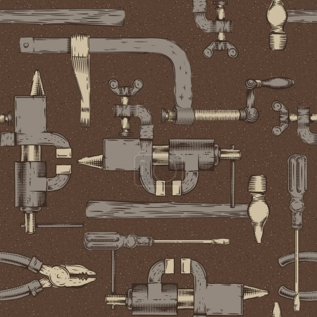 Vintage seamless pattern with assortment of do it yourself tools