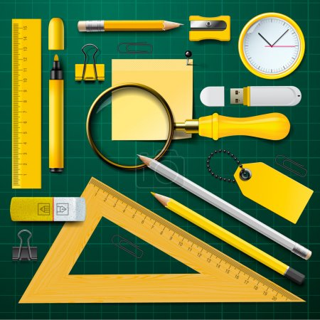 Yellow school supplies with green background