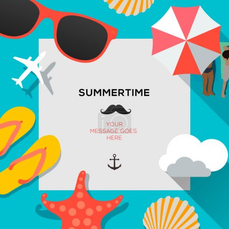 Photo for Summertime traveling template with beach summer accessories, vector Eps10 illustration. - Royalty Free Image