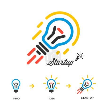 Start up business concept network, bulb-rocket