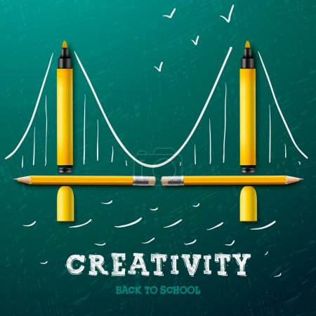 Illustration for Creativity learning. Bridge made with pencils and markers - sketch on the blackboard, vector image. - Royalty Free Image