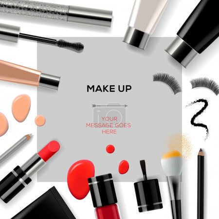 Makeup template with collection of make up cosmetics