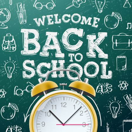 Illustration for Welcome back to school sale background  with alarm clock, vector Eps10 illustration. - Royalty Free Image