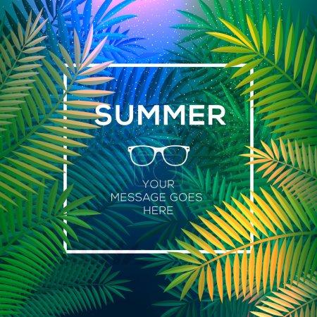 Illustration pour Concept tropical d'été, paradis tropical avec des feuilles de palmier, vecteur Eps10 image . - image libre de droit