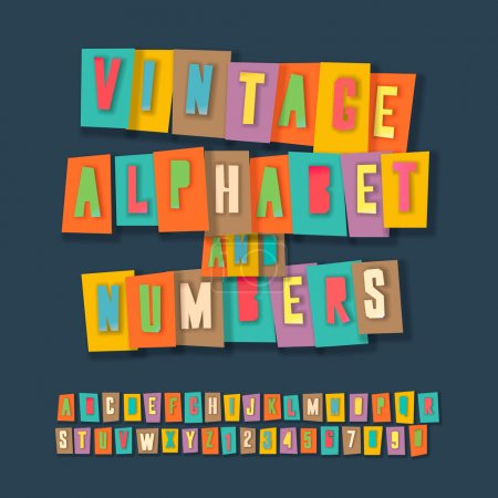 Photo for Vintage alphabet and numbers, colorful paper craft design, cut out by scissors from paper. Vector Eps10 illustration. - Royalty Free Image