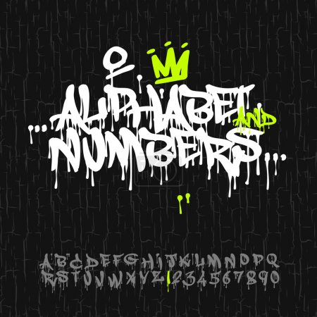 Photo for Graffiti alphabet and numbers, vector Eps10 image. - Royalty Free Image