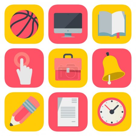 Clean and simple education icons based on iOS7 grid, vector illustration.