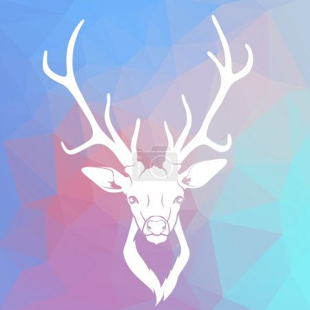 Deer head on triangle background