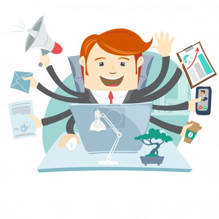Very busy office man working hard by eight hands