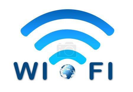 Photo pour Icône bleue de réseau sans fil wifi - image libre de droit