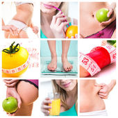 collage of female beauty and diets