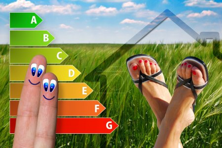 diagram of house energy efficiency rating with two cute happy fingers and green background