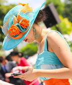 Elegant woman with her beautiful hat