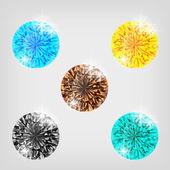 Set of five colored diamonds