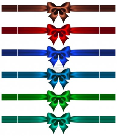 Illustration for Vector illustration - collection of bows with ribbons in dark colors. EPS 10, RGB. Created with gradient mesh. - Royalty Free Image