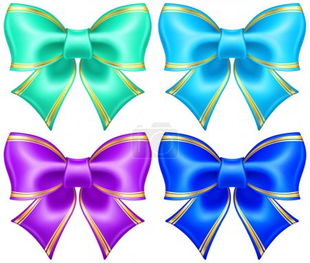 Silk bows in cool colors with golden edging