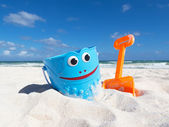 Children's beach toys on the sand